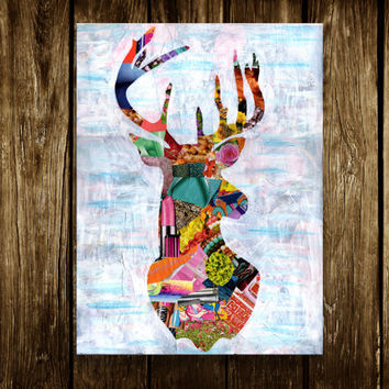 Deer print, Deer head, deer antler, Deer illustration, Mixed media collage art, bohemian decor, gift for men, kids room decor, mancave art