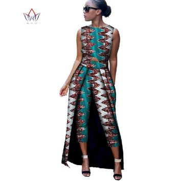 2017 Fashion Africa Cotton Wax Print Rompers African Bazin Riche Jumpsuit For Women Dashiki Fitness Jumpsuit WYD8
