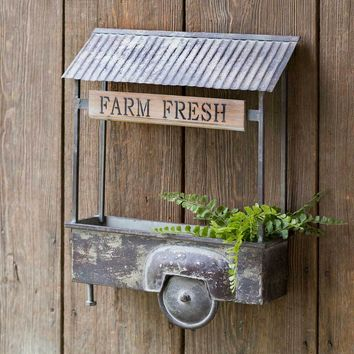 Vintage Farm Fresh Truck Bed Wall Planter