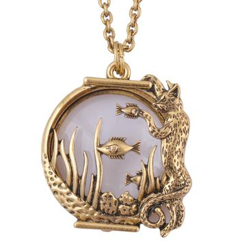 Ocean fish Animal Magnifier Glass Pendant  Necklace