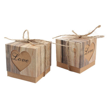 50pcs/lot Romantic Heart Candy Box for Wedding Decoration Vintage Kraft Wedding Favors and Gifts Box with Burlap Twine Chic