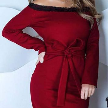 New Red Patchwork Lace Bow Boat Neck Long Sleeve Casual Midi Dress
