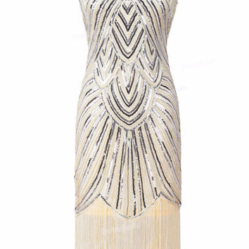 PrettyGuide Women 1920s Vintage Great Gatsby Art Deco Sequin Embellished Fringed Hem Cocktail Flapper Dress