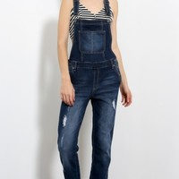 Distressed Boot Cut Overalls | MakeMeChic.com