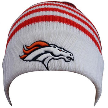 Denver Broncos Fans Knitted Cap Winter Beanie with Pom - White (Size: One Size)