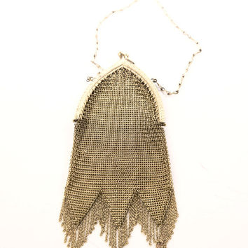 EDWARDIAN Antique Purse Little Bag Gold mesh Metalic Chain mail Vintage Amazing