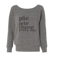 Plie Jete Chasse Everyday Slouchy Shoulder Triblend Fleece WIde Neck Sweatshirt