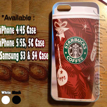 iPhone 4/4S Case, iPhone 5/5S, 5C Case and Samsung Galaxy S3 i9300, S4 i9500 Case - Design Christmas Starbucks Coffee