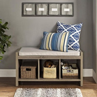 Sturdy Entryway Storage Bench With Three Cubbies Beige Cushion Sonoma Oak Finish