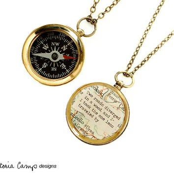 Small Map Compass Necklace with Robert Frost or Personalized Quote, Working Compass, The Road Not Taken, Poetry Jewelry, Graduation Gift
