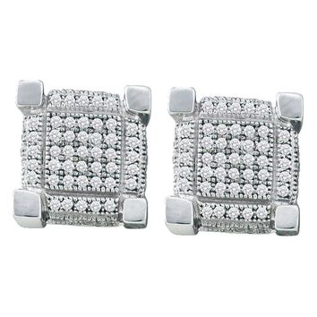 Sterling Silver Mens Round Diamond 3D Square Cluster Stud Earrings 1/2 Cttw