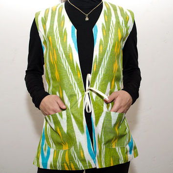women's ikat jacket, low SALE price, green ikat, ikat, jacket, dress, garment, wear, apparel, clothes, clothing from SilkWay