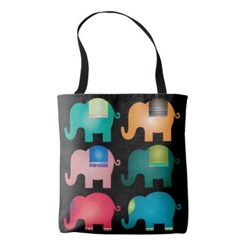 colorful elephants tote bag