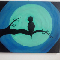 canvas acrylic, painting, bird on branch, size 30x24cm, original, silhouette