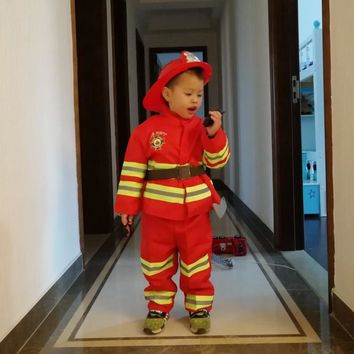 Kids Firefighter Costumes Baby Boys Clothing Set Halloween Party Cosplay Roleplay Fireman Costumes for Teenager Boys with Belt