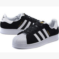 """Adidas"" Fashion Shell-toe Flats Sneakers Sport Shoes black white golden logo"