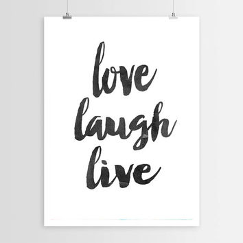 "PRINTABLE ""Love Laugh Live"" Typography Quote, Home Decor, Motivational Poster, Digital Download, Wall Art Printable Art, Inspirational Print"