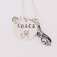 Hand Stamped Personalized Swim Coach Birthstone Charm Necklace Swim Coach Necklace with Sterling Silver Goggles Charm and Crystal Birthstone