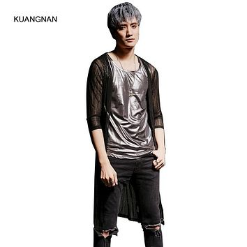 Summer Men Trench Coat Thin Mesh Male Fashion Slim Fit Cardigan Long Jacket Punk Stage Show Costumes