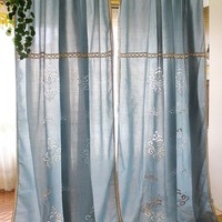 The Mediterranean Sea Style Retro Hollow Totem Splice Lace Cotton living Room Finished  Curtain  Blue /Beige  2 patterns