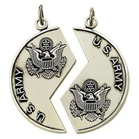 """1 1/8"""" Sterling Silver Army Mizpah Medal Necklaces w/ 18"""" and 24"""" Chains"""
