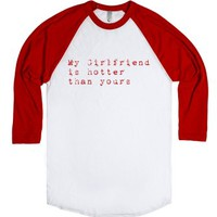 Hotter Girlfriend-Unisex White/Red T-Shirt