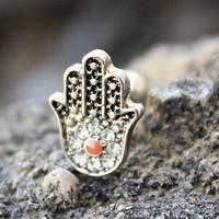 316L Stainless Steel Jeweled Hamsa Hand Cartilage Earring