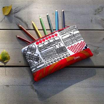 Personalized pencil case made from Marimekko fabric, Zipper pouch, Cosmetic bag, Make up purse, sunglasses case