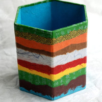 Hanji Horizontal Lines Patchwork Pen Holder Pencil Case Desktop OOAK Paper Multicolor Blue Organic Design