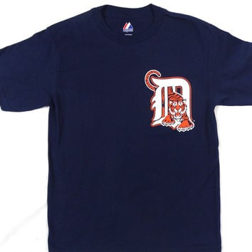 "Detroit Tigers Majestic ""D"" Short Sleeve T Shirt Youth Size M"
