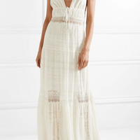 Jonathan Simkhai - Lace-paneled embroidered silk-georgette maxi dress