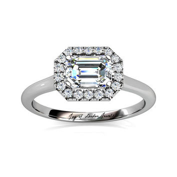 A Perfect 4.5CT Emerald Cut Halo Russian Lab Diamond Engagement Wedding Anniversary Ring