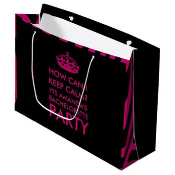 Bachelorette Party personalized hot pink and black Large Gift Bag