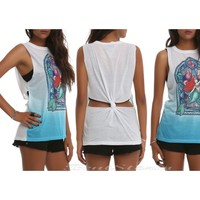 Licensed cool Disney Little Mermaid ARIEL Stained Glass Window Muscle Tank Top Shirt  M & XL