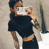 Momoluna New 2017 Woman harajuku kawaii lace-up tshirt t shirt graphic crop top cropped tops tee shirt femme camiseta s m l