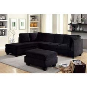 2 pc Lomma collection contemporary style black flannelette fabric upholstery sectional sofa - Sears
