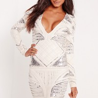 Missguided - Premium Plunge Embellished Bodycon Dress White