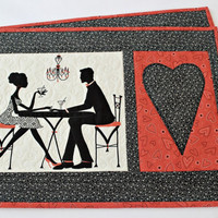Valentine Placemats, Quilted Table Mats, Black Red Place Mats, Valentine Table Decor, Set of 2 placemats, Quiltsy Handmade