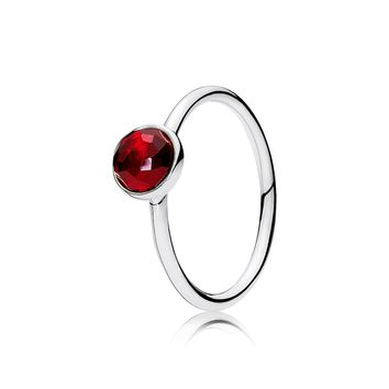 PANDORA   July Droplet Ring, Synthetic Ruby