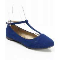 Breckelle Cherry-12 Suede Round Toe T-Strap Mary Jane Ballet Flats NAVY BLUE