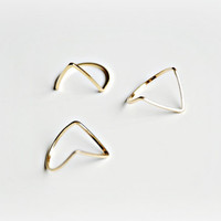 Gold chevron stackable Ring - Above the knuckle ring