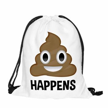 Shit Happens - Shit Emoji - Drawstring Bags Cinch String Backpack Funny Funky Cute Novelty