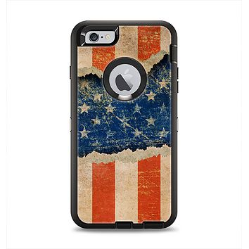 The Scratched Surface Peeled American Flag Apple iPhone 6 Plus Otterbox Defender Case Skin Set