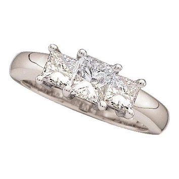 14kt White Gold Women's Princess Diamond 3-stone Bridal Wedding Engagement Ring 3/4 Cttw - FREE Shipping (US/CAN)