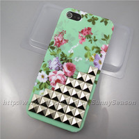 IPhone 5 case,Silver Pyramid Corner Studded iPhone 5 Case,Vintage Green Red Purple Flower iPhone Hard Case