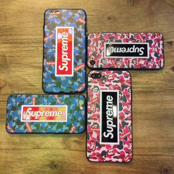 Supreme bape camo 2017 new luxury shockproof TPU case cover for iPhone 7
