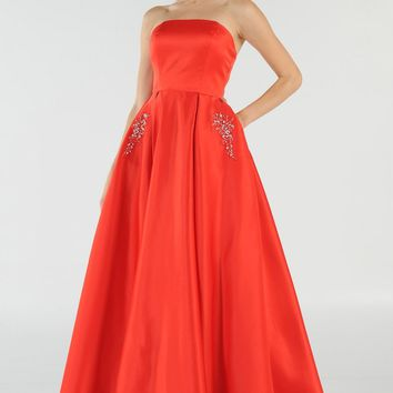Red Strapless A-line Prom Gown with Embellished Pockets