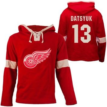 Old Time Hockey Pavel Datsyuk Detroit Red Wings Grant Lace Alum Name & Number Pullover Hoodie - Red