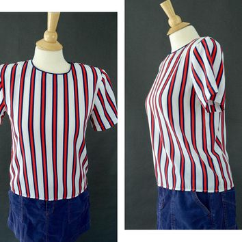 Vintage 80s Striped Blouse, Short Sleeved Shirt, Hipster Shirt, Red, Blue White Stripes, Key Hole, Secretary Style, Pull Over Blouse