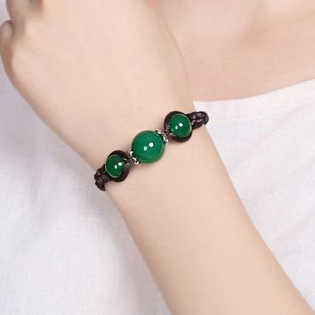 14mm/10mm Natural Green chalcedony  Bracelet Round Beads Bracelet Bangles Gift for Women Fashion Stone Jades Jewelry